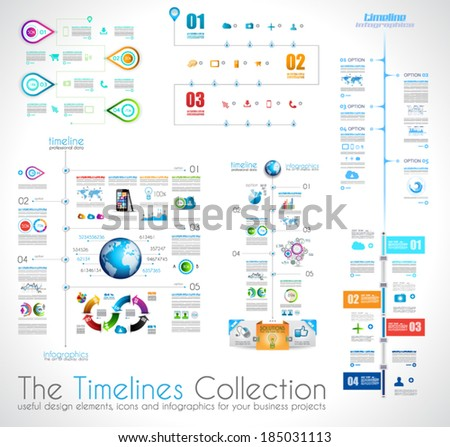 Timeline Infographic design template with paper tags. Idea to display information, ranking and statistics with orginal and modern style. - stock vector