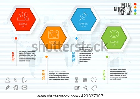 Timeline infographic template for modern infographics. Vector illustration. - stock vector
