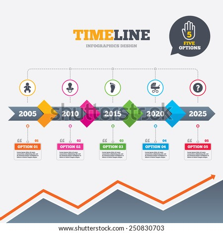 Timeline infographic with arrows. Baby infants icons. Toddler boy with diapers symbol. Buggy and dummy signs. Child pacifier and pram stroller. Child footprint step sign. Five options with hand. - stock vector