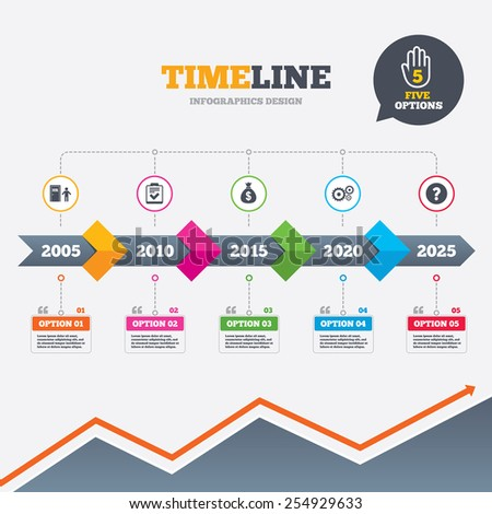 Timeline infographic with arrows. Human resources icons. Checklist document sign. Money bag and gear symbols. Man at the door. Five options with hand. Growth chart. Vector - stock vector
