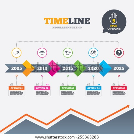 Timeline infographic with arrows. Travel trip icon. Airplane, world globe symbols. Palm tree and Beach umbrella signs. Five options with hand. Growth chart. Vector - stock vector