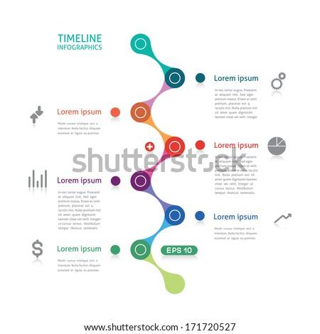 timeline infographics broken line - stock vector