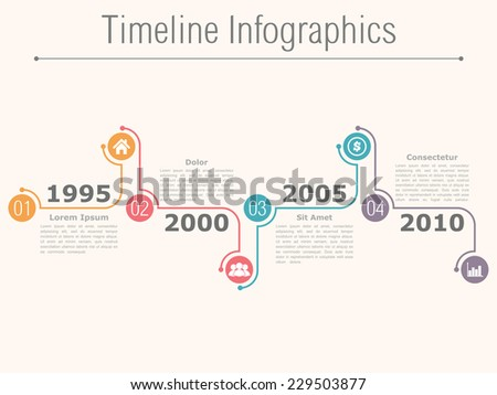 Timeline infographics design template with numbers, icons, dates and place for your text, vector eps10 illustration - stock vector