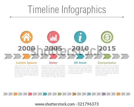 Timeline infographics design with colored arrows and icons in circles, vector eps10 illustration - stock vector