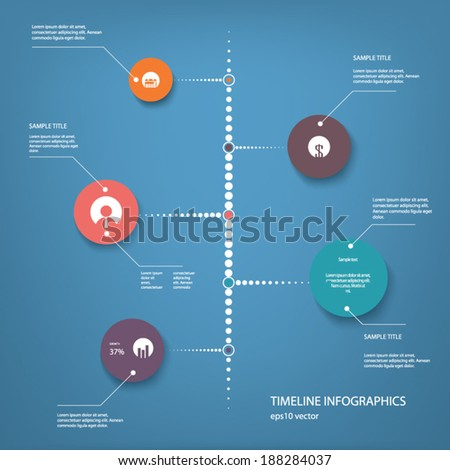 Timeline infographics menu with some icons and signs suitable for presentations, reports, newsletters. Eps10 vector illustration - stock vector
