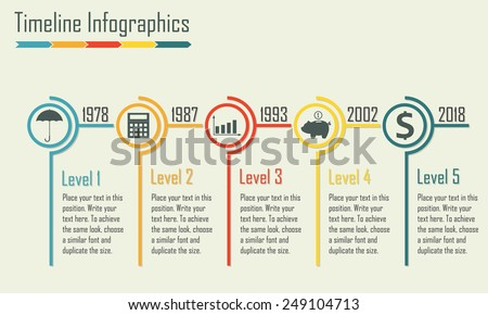 Timeline Infographics template. Isolated design elements. Colorful vector illustration. - stock vector