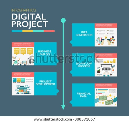 Timeline infographics template. Material design layout. Project management, digital, clients brief, design, communication concept. Use in website, corporate report presentation, advertising, marketing - stock vector