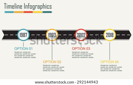 Timeline Infographics template with arrow from asphalt road. Horizontal design elements. Colorful vector illustration. - stock vector