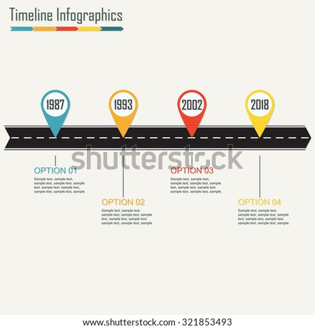 Timeline Infographics template with arrow from asphalt road. Horizontal design elements. Traffic concept. Colorful vector illustration. - stock vector