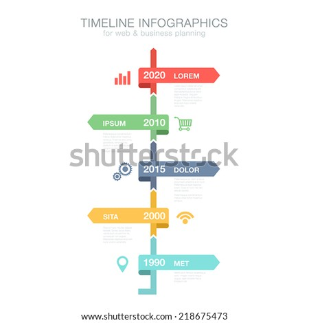 Timeline Infographics vertical vector design template for business financial reports, website, infographic statistics with icons. Editable. - stock vector