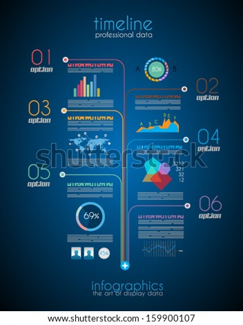 Timeline to display your data in order with Infographic elements technology icons,  graphs,world map and so on. Ideal for statistic data display. - stock vector