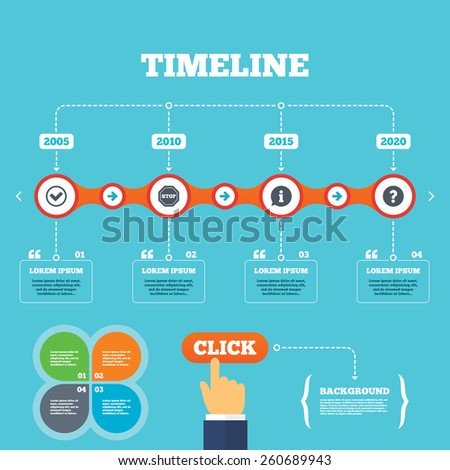 Timeline with arrows and quotes. Information icons. Stop prohibition and question FAQ mark signs. Approved check mark symbol. Four options steps. Click hand. Vector - stock vector