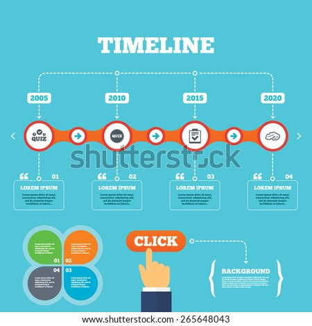 Timeline with arrows and quotes. Quiz icons. Human brain think. Checklist symbol. Survey poll or questionnaire feedback form. Questions and answers game sign. Four options steps. Click hand. Vector - stock vector