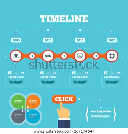 Timeline with arrows and quotes. SOS lifebuoy icon. Heartbeat cardiogram symbol. Swimming sign. Man drowns. Four options steps. Click hand. Vector - stock vector