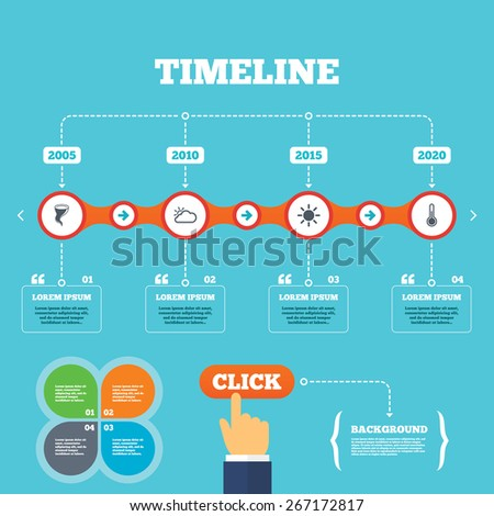 Timeline with arrows and quotes. Weather icons. Cloud and sun signs. Storm symbol. Thermometer temperature sign. Four options steps. Click hand. Vector - stock vector