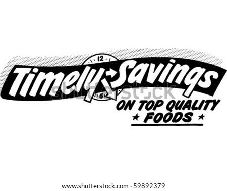 Timely Savings - Ad Header - Retro Clip Art - stock vector