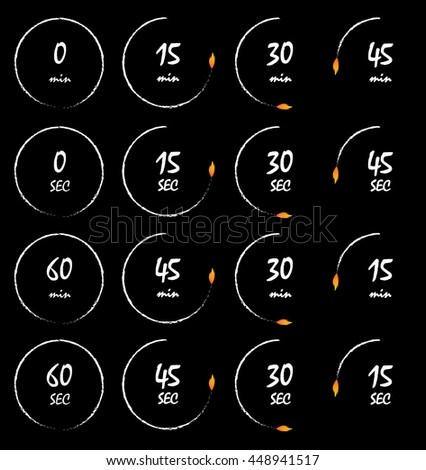 Timer burning with a fire flame, conceptual vector illustration. Countdown icons collection isolated over black background - stock vector
