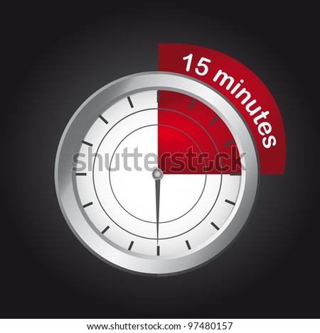 timer clock over black background, 15  minutes. vector - stock vector