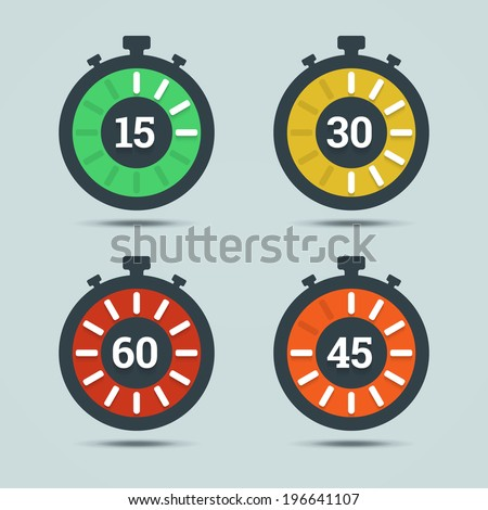 Timer icons with color gradation and numbers in flat style on a light background. Vector illustration in EPS10. - stock vector