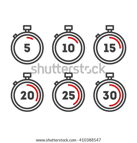 Timer line icons. Timer icons set. Vector timer icons - stock vector