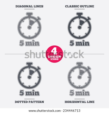 Timer sign icon. 5 minutes stopwatch symbol. Diagonal and horizontal lines, classic outline, dotted texture. Pattern design icons.  Vector - stock vector
