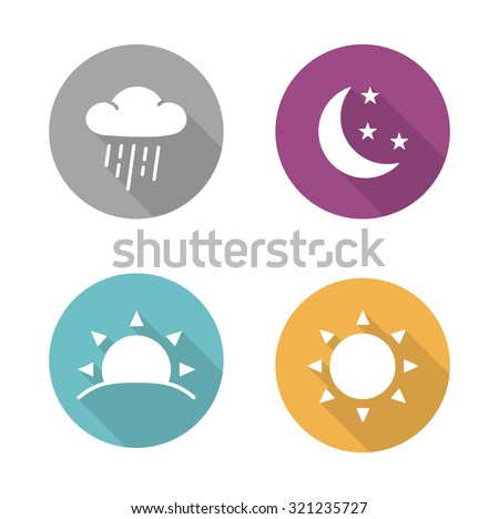 Times of day flat design icons set. Sunrise and sunshine long shadow white silhouettes illustrations. Sunny and rainy day round infographics elements with raining cloud and sun. Vector symbols - stock vector