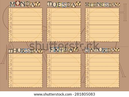 Timetable - stock vector