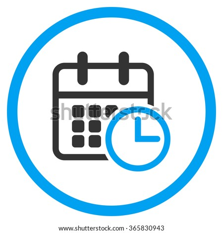 Timetable vector icon. Style is bicolor flat circled symbol, blue and gray colors, rounded angles, white background. - stock vector