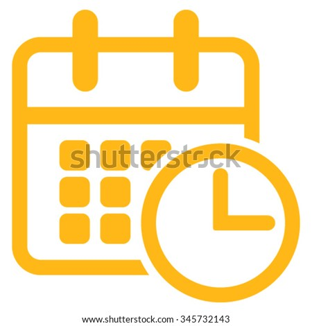 Timetable vector icon. Style is flat symbol, yellow color, rounded angles, white background. - stock vector