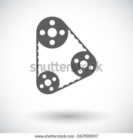 Timing belt. Single flat icon on white background. Vector illustration. - stock vector