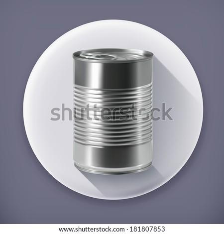 Tin can, long shadow vector icon - stock vector