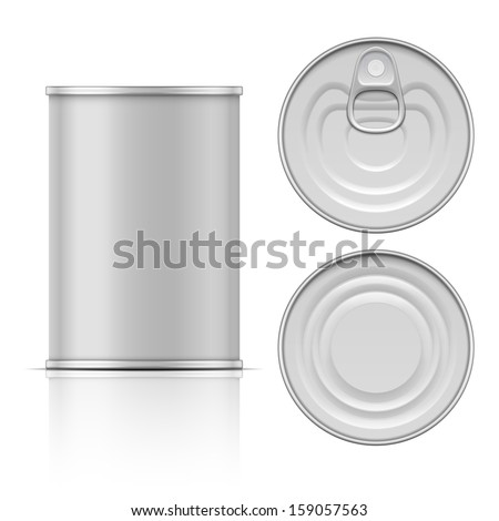 Tin can with ring pull: side, top and bottom view. Vector illustration. Packaging collection. - stock vector
