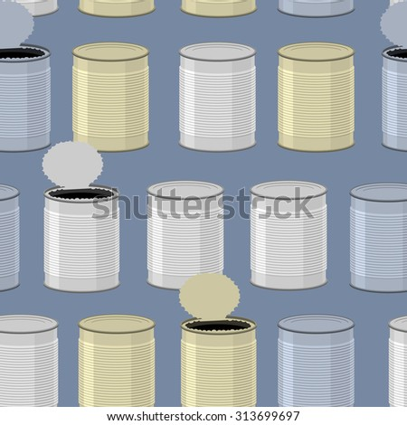 Tin seamless pattern. Color Tincan background. - stock vector