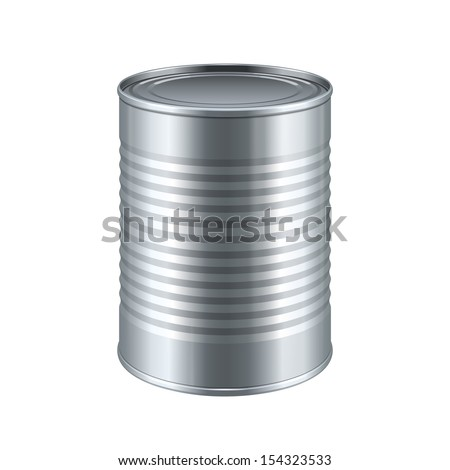 Tincan Ribbed Metal Tin Can, Canned Food. Ready For Your Design. Product Packing Vector EPS10  - stock vector