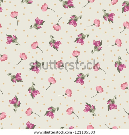 tiny roses seamless background - stock vector