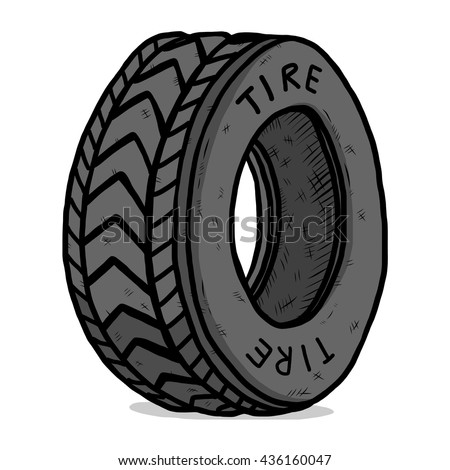 tire / cartoon vector and illustration, hand drawn style, isolated on white background. - stock vector