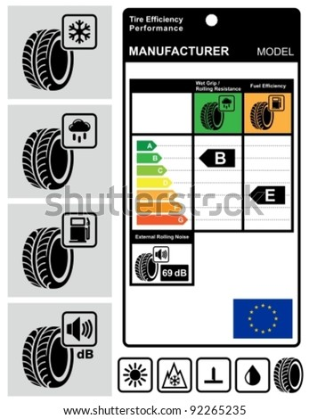 Tire efficiency performance icons and label set. - stock vector
