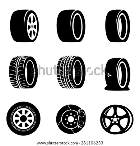 Tire icons icons vector. - stock vector