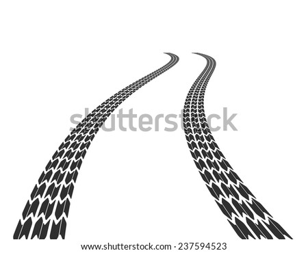 Tire marks on the road stretching into the distance. Vector illustration - stock vector