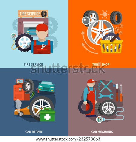 Tire service flat set with shop car repair mechanic isolated vector illustration. - stock vector