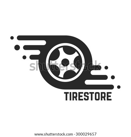 tire store with abstract tyre. concept of 24 hour support, protector, auto station, maintenance, machine disk. isolated on white background. flat style trend modern brand design vector illustration - stock vector