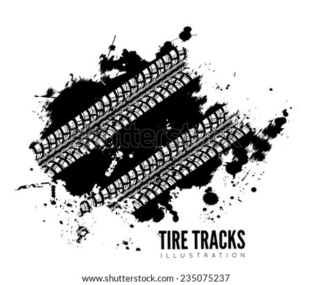 Tire track vector background in black and white style - stock vector