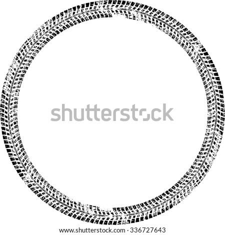 Tire Track Vector Round Border Frame . Distressed Overlay Grunge Design Frame .  - stock vector
