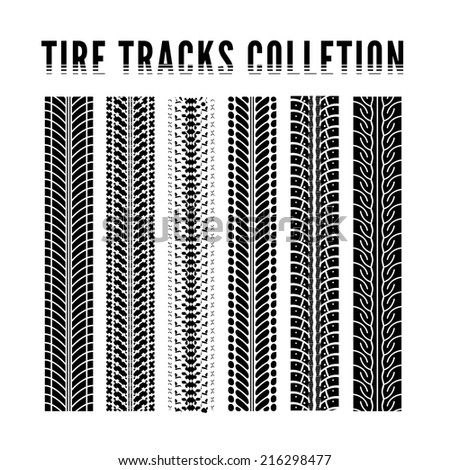 Tire tracks collection. Vector illustration on white background - stock vector