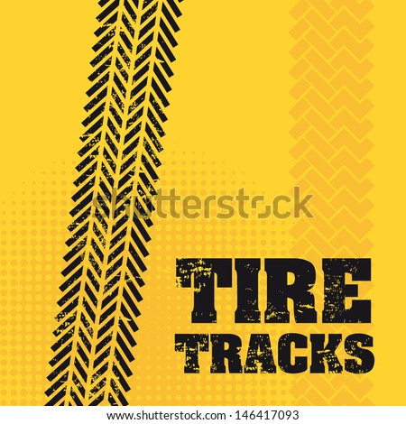 tire tracks over yellow background vector illustration  - stock vector