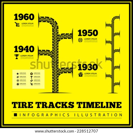 Tire tracks timeline infographics. Vector illustration on yellow background - stock vector