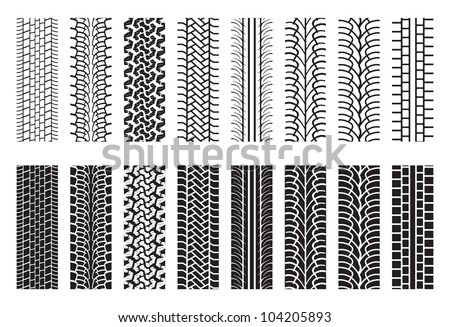 Tire Tracks, trace of the wheel - stock vector