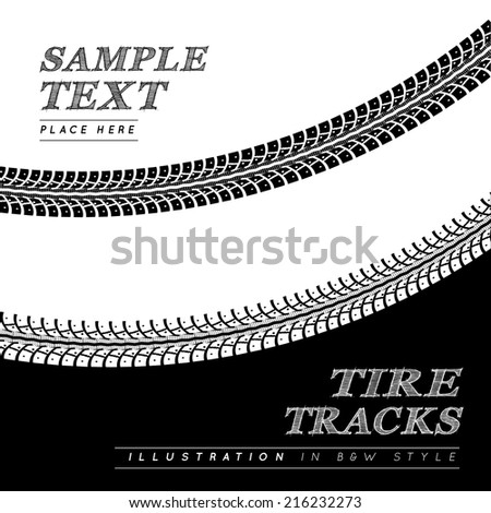 Tire tracks. Vector illustration in black and white style - stock vector