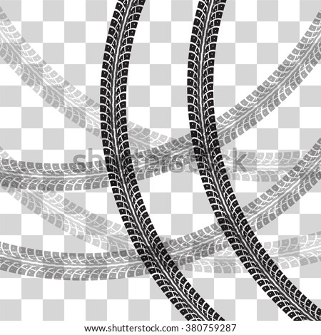 Tire tracks.  Vector illustration on checkered background - stock vector