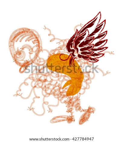 tired angel with red wings walking isolated on white - stock vector